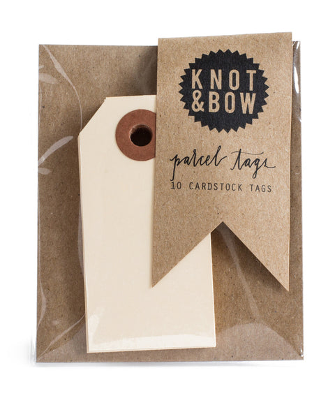 Knot & Bow Parcel Tags Manila