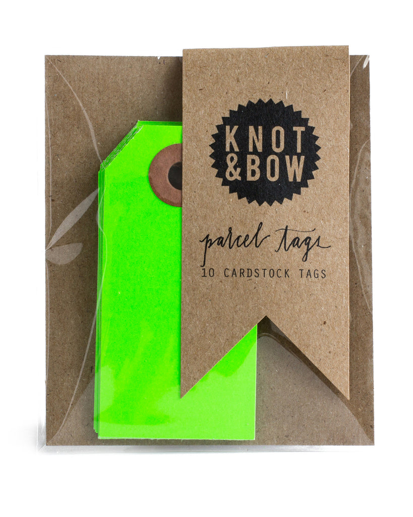 Package of 10 paper parcel gift tags in neon green