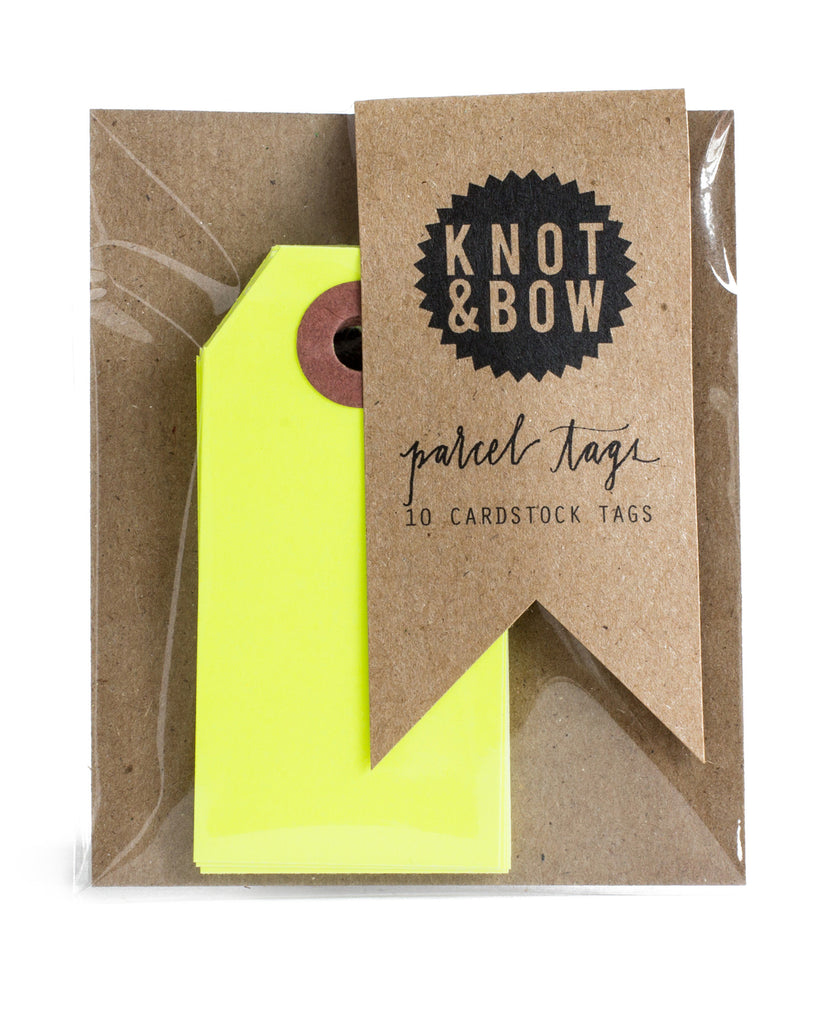 Package of 10 paper parcel gift tags in neon yellow