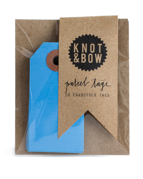 Package of 10 paper parcel gift tags in medium blue