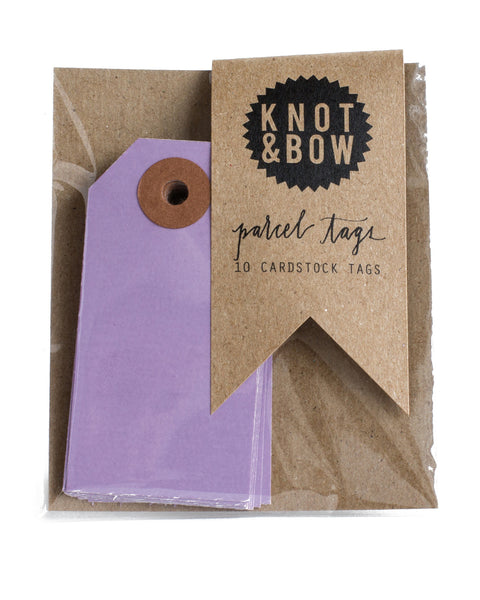 Package of 10 paper parcel gift tags in violet