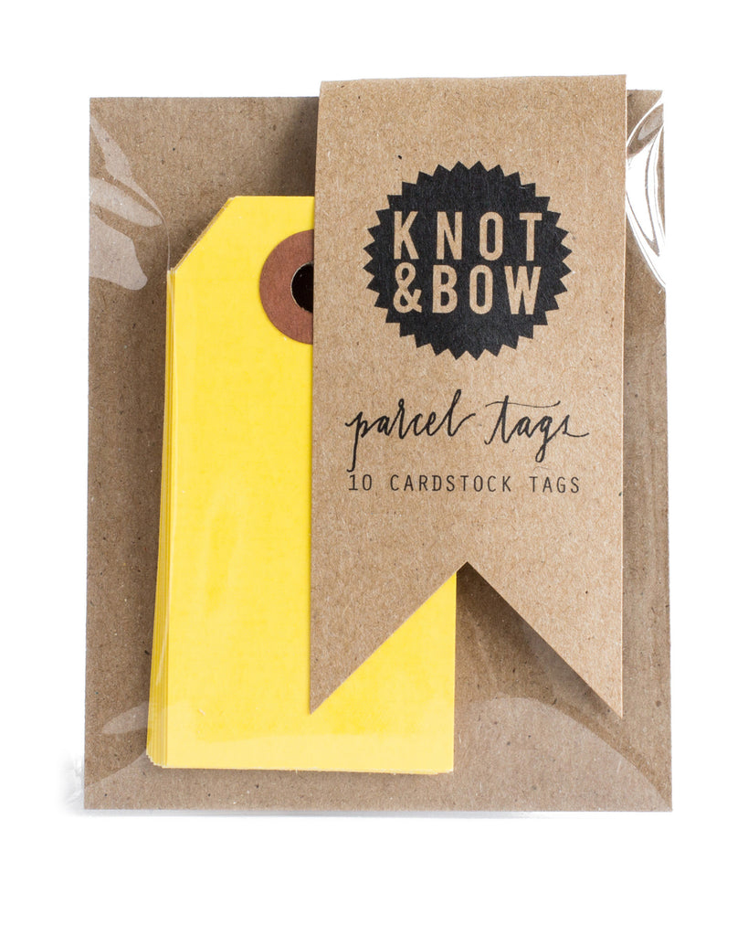 Package of 10 paper parcel gift tags in yellow