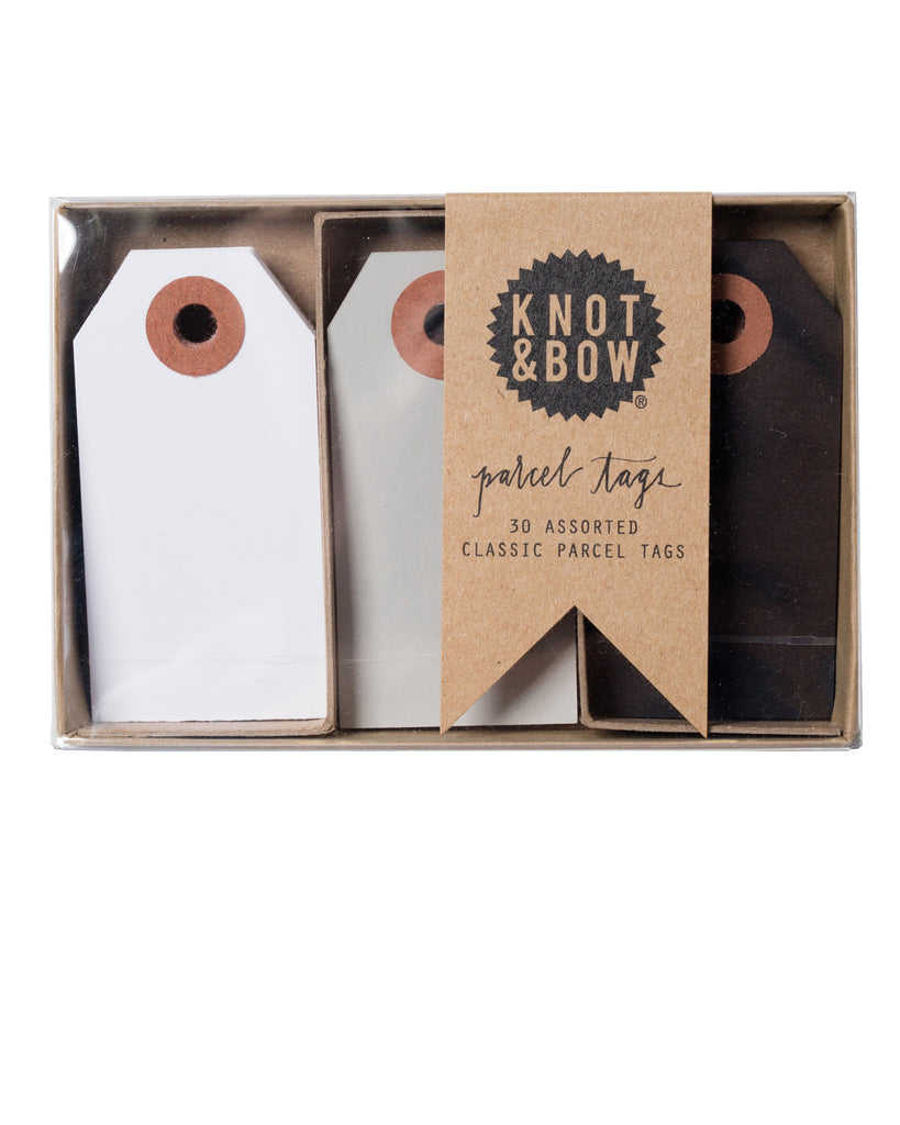 Knot & Bow Parcel Tag Trio Black Mix