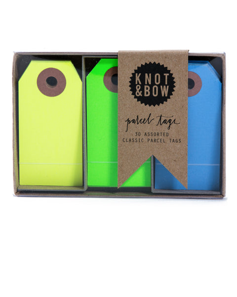 Package of 30 paper parcel gift tags in a trio of cool neon colors