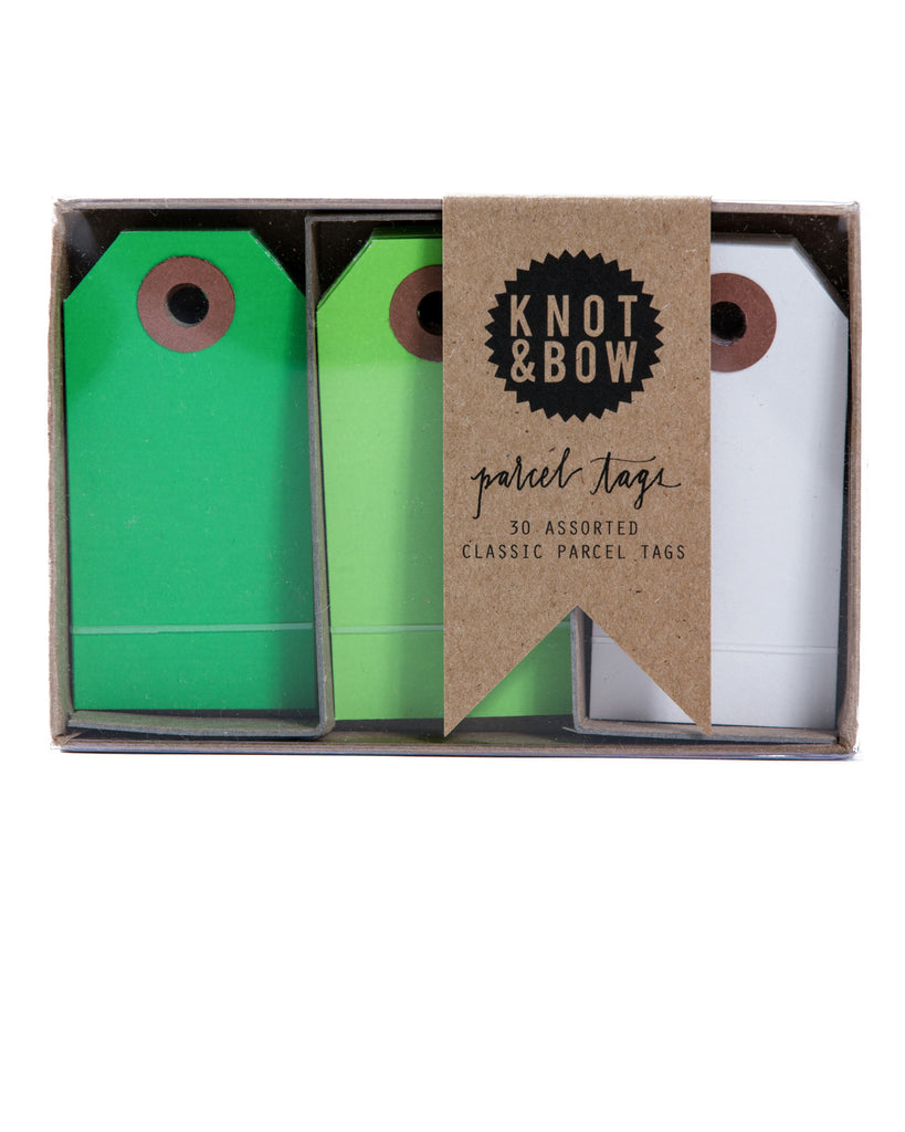 Knot & Bow Parcel Tag Trio Green Mix