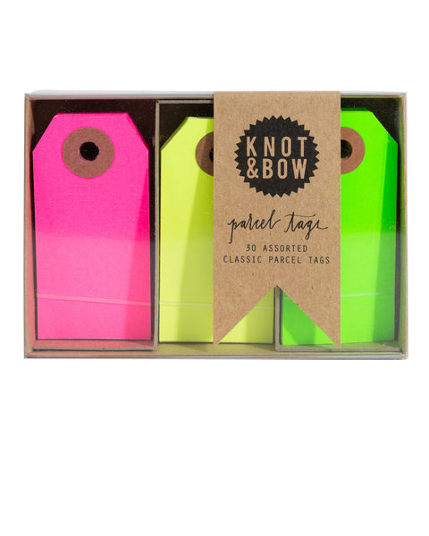 Package of 30 paper parcel gift tags in a trio of classic neon colors
