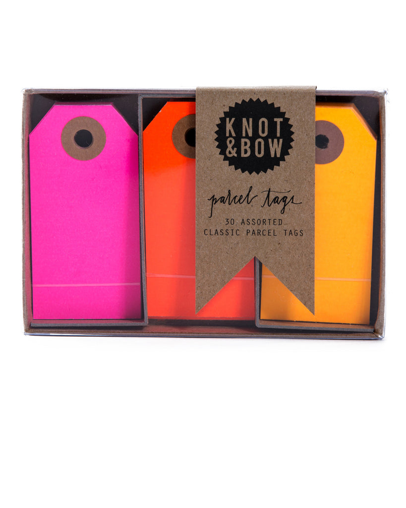 Package of 30 paper parcel gift tags in a trio of warm neon colors