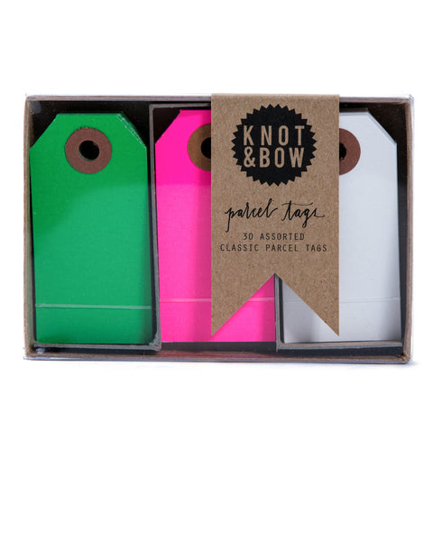 Package of 30 paper parcel gift tags in a trio of pink and green colors