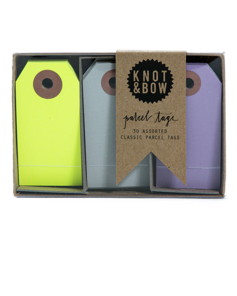 Knot & Bow Parcel Tag Trio Yellow Violet Mix