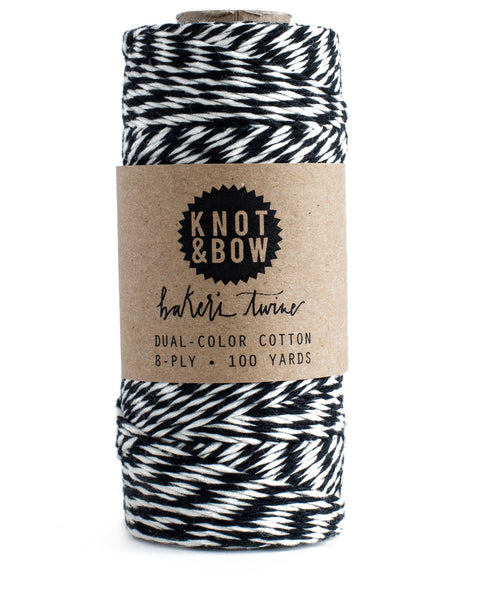 Spool of 100 yards of dual-color cotton baker's twine in black and white
