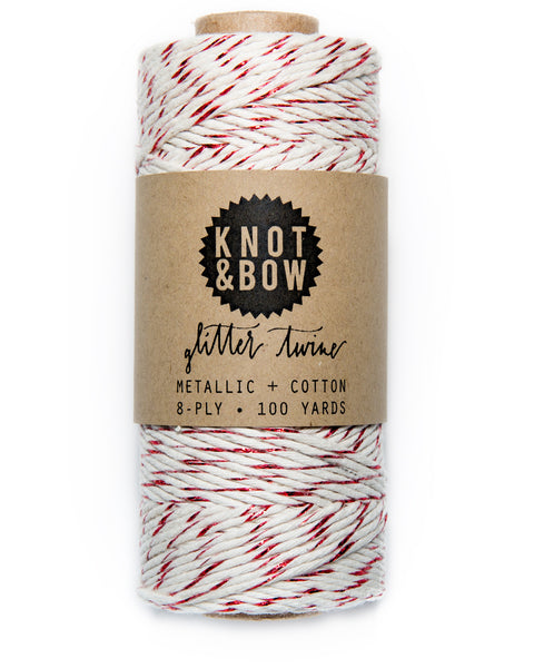 Spool of 100 yards of the original glitter twine in natural cotton with a twist of metallic red