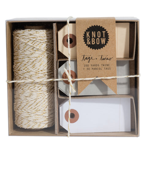 Set of 30 parcel tags in neutral colors and 100 feet of natural cotton twine with a twist of gold