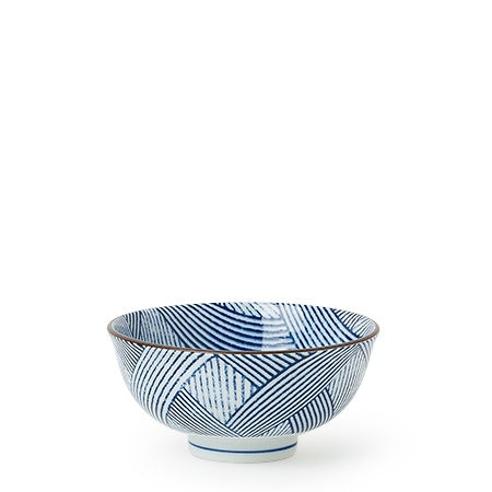 Aizome Shima Stripe Blue Bowl - 4.5""