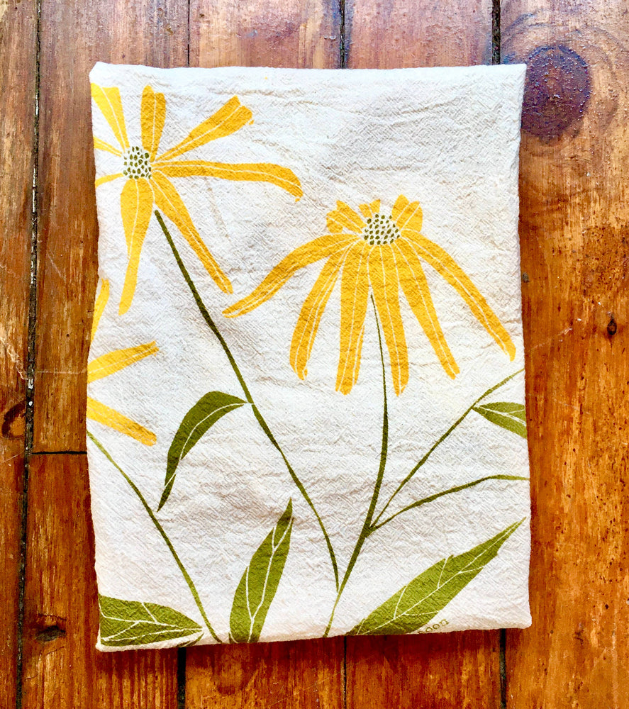 Load image into Gallery viewer, Black-eyed Susans Tea Towel