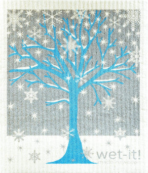 Load image into Gallery viewer, Wet it Winter Tree Swedish Dishcloth