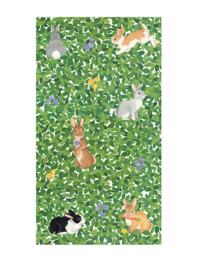 Caspari Bunnies and Boxwood Towel Guest Napkins