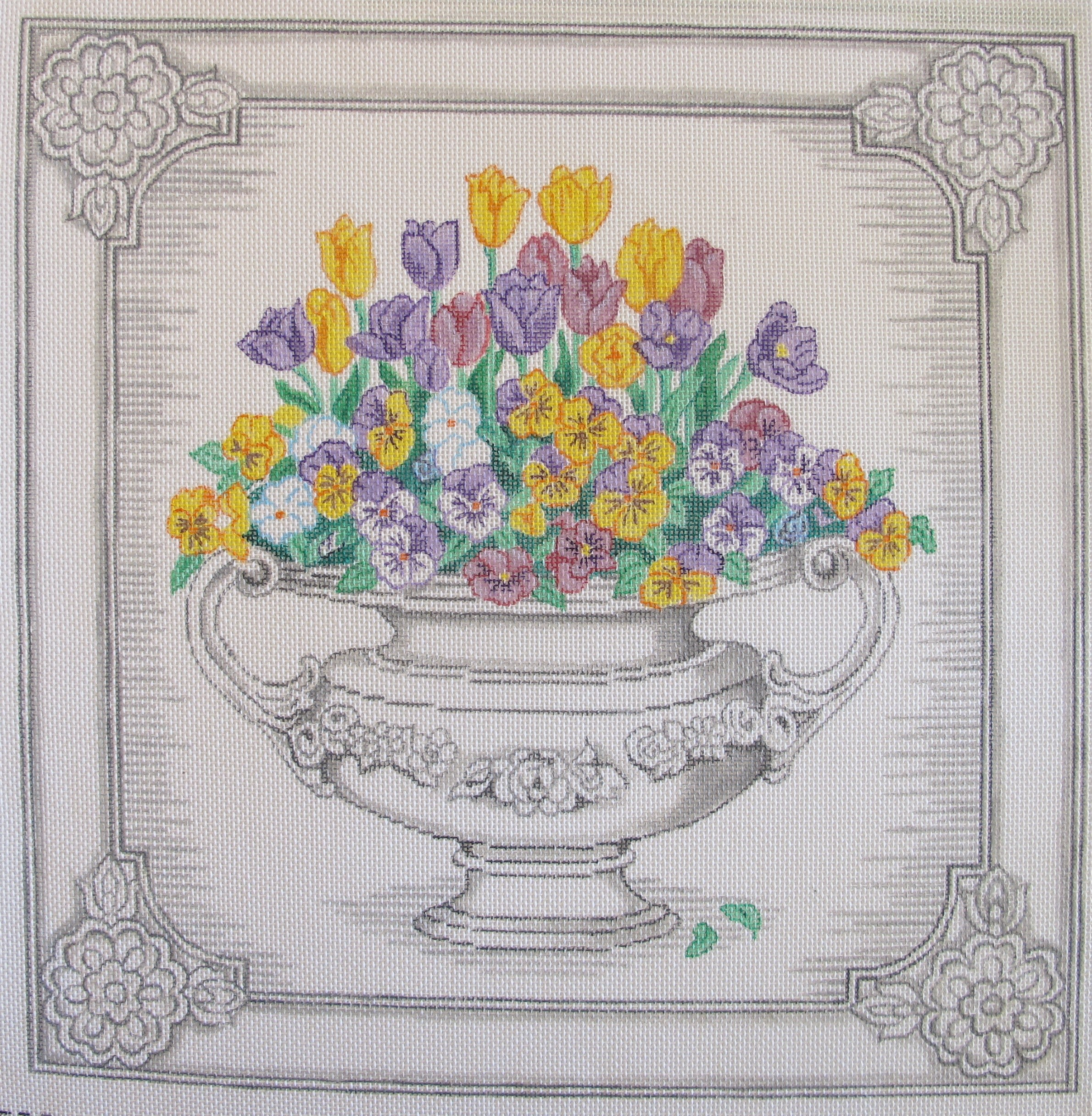 Pansies in Urn