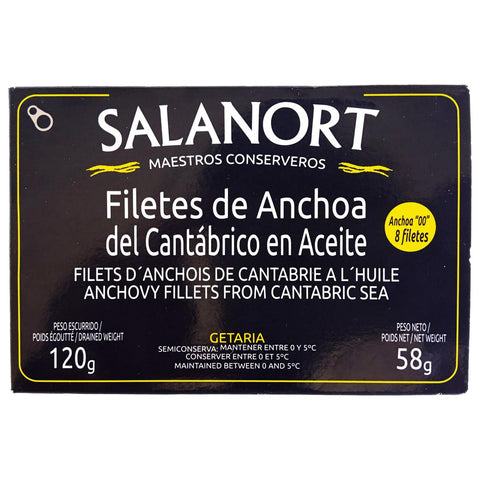 "Filetti di acciughe cantabriche in salamoia serie""00"" 8 filetti 120gr Salanort"