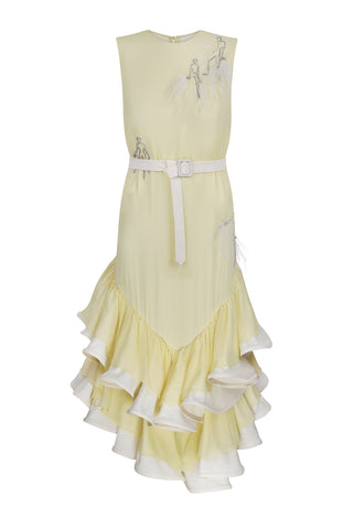 Yellow dress with decoration & volume ruffles