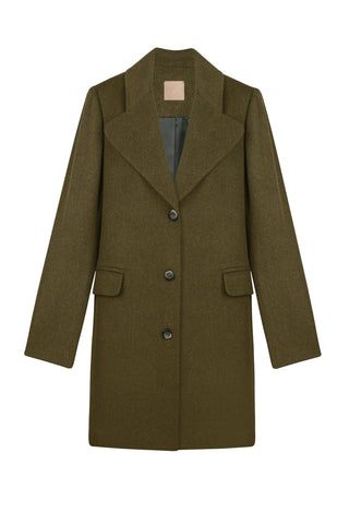 Khaki-green coat with oversized silhouette