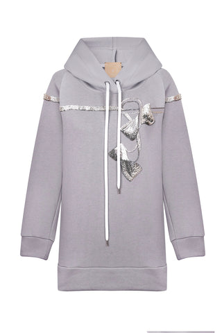 Grey hoodie with decoration