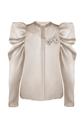 High-neck puff-sleeve organza blouse