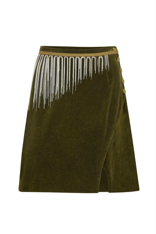 Wrap silhouette cotton-velvet mini skirt