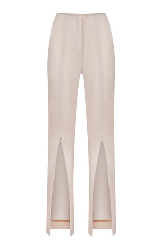 Beige slim fit pants with zipper on the front