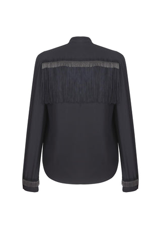 Black silk shirt with fringe
