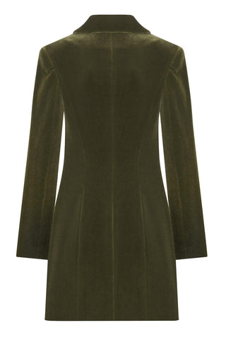 Single-breasted cotton-velvet jacket dress