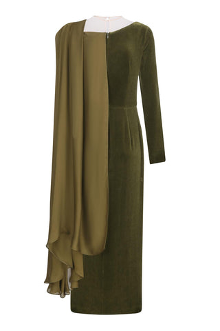 Khaki-green wrap silhouette dress