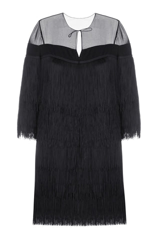 Black mini fringe dress