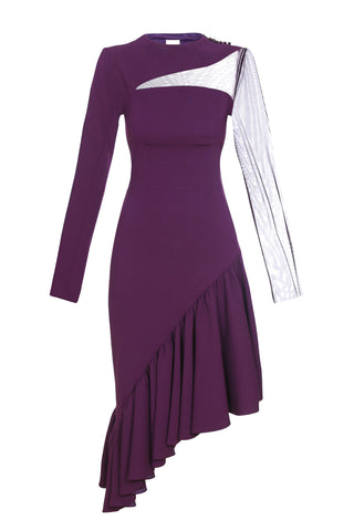 Asymmetric dress with ruffles