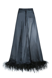 Silk skirt with feathers
