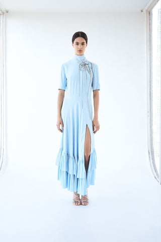 Blu dress with decoration