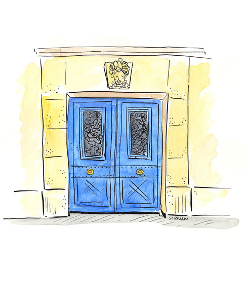 Blue Door Paris Print