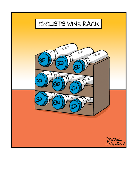 Cyclist Wine Rack Print