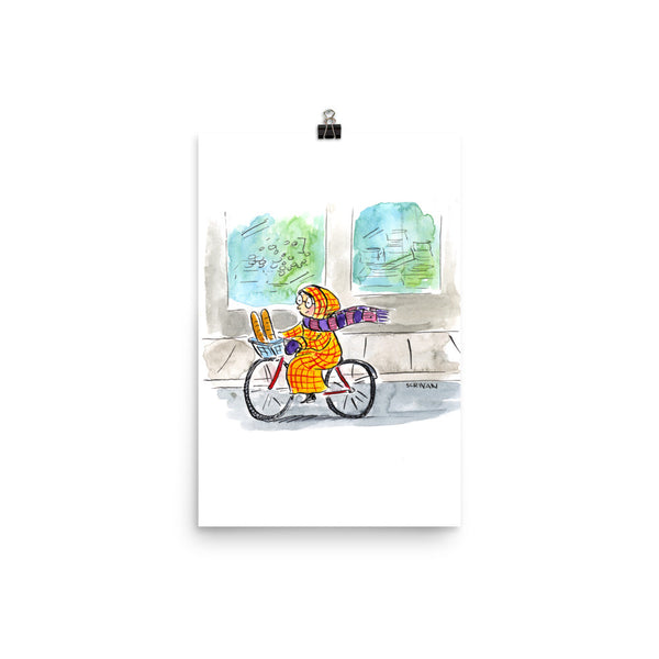 Bicycle Woman in Paris Print