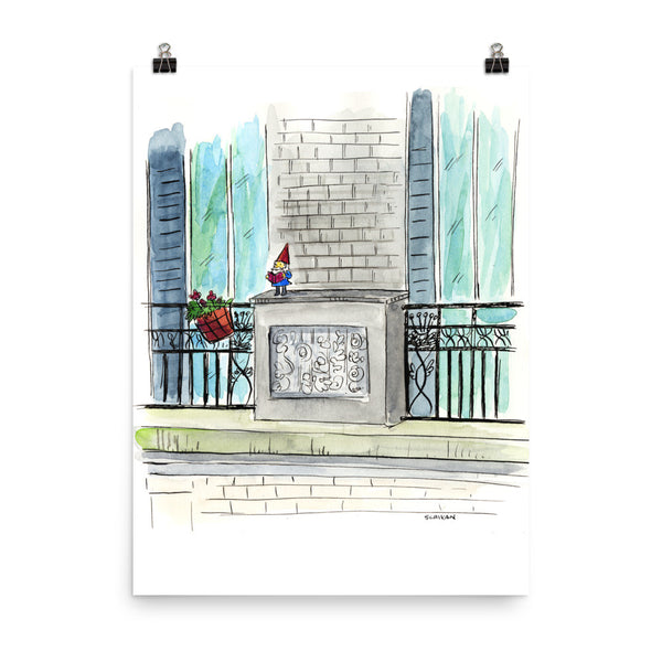 Lawn Gnome, 5 Stories Up Paris Print