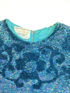 Vintage 60's Aqua Sequin Top