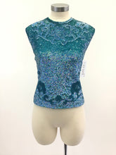Load image into Gallery viewer, Vintage 60's Aqua Sequin Top