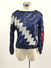 Load image into Gallery viewer, Vintage 80's Zig Zag Bowie Sequin Top
