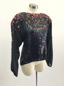 Vintage 70's Beaded Sequin Top