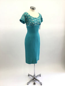 Vintage 50's Embroidered Wiggle Dress