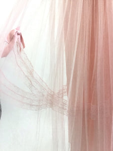 Vintage 50's Pink Lace Tulle Maxi Dress
