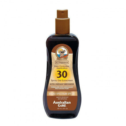 Australian Gold SPF30 Spray Gel Sunscreen BRONZER 237 ml