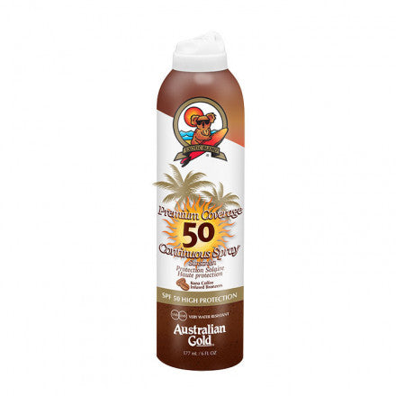 Australian Gold SPF50 Premium Coverage Continuos Spray Sunscreen BRONZER 177 ml