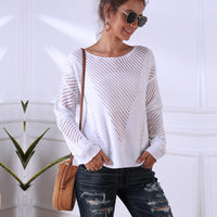 White Hollow Out Knitted Pullovers