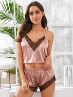 Contrast Lace Cut Out Satin Night Set