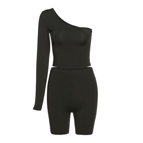 Solid Asymmetrical Two Piece Set